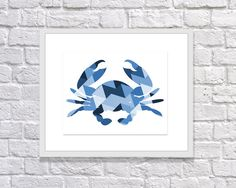 Blue Geometric Crab Print for Nautical Baby by TwooverTwoStudio