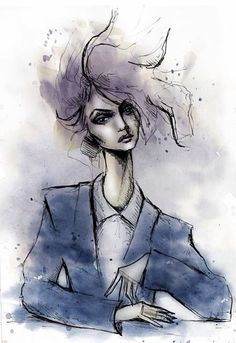 fashion illustration with pen and water color by Lara Wolf #fashion #illustration #watercolor #photoshop
