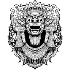 Barong and Rangda on Behance Mask Tattoo, 1 Tattoo, Doodles Zentangles, Barong Bali, Graphic Design Illustration, Illustration Art, Logo Superman, Dragons, Mask Drawing