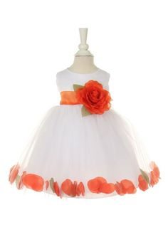 51baffe1d31 Girls Dress Style 1170- Choice of White or Ivory Dress with Orange Accents