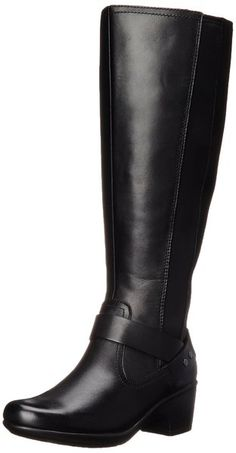 Clarks Women's Malia Waves Riding Boot, Black Leather, 9 M US