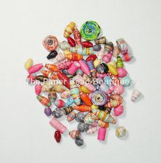 Hand Rolled Loose Paper Beads Supplies XL Variety Lot of 100 by ThePaperBeadBoutique on Etsy