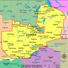 Map of Zambia. Zambia formerly known as Northern Rhodesia, officially the Republic of Zambia, is a landlocked country in southern Africa. The neighbouring countries are the Democratic Republic of the Congo to the north, Tanzania to the north-east, Malawi to the east, Mozambique, Zimbabwe, Botswana and Namibia to the south, and Angola to the west. The capital city is Lusaka, independence  from the United Kingdom 24 October 1964.