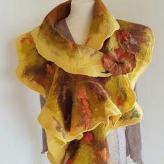 Hand felted Merino Scarf embellished with silks and flower pin. Fibre Art, Wet Felting, Cotton Lights, Fiber, Silk, Color, Etsy, Low Fiber Foods, Colour