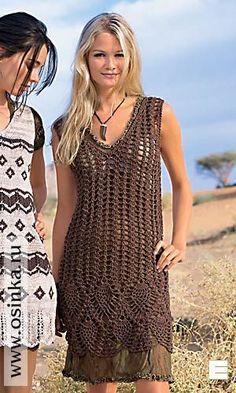 Crochet brown dress ♥️LCD-MRS♥️with diagrams. Crochet Blouse, Knit Dress, Knit Crochet, Crochet Woman, Crochet Fashion, Crochet Clothes, Crochet Dresses, Clothing Patterns, Ideias Fashion