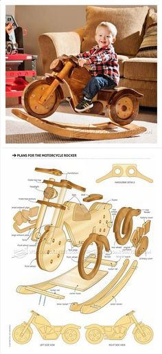 Teds Wood Working - Rocking Motorcycle Plans - Children's Woodworking Plans and Projects | WoodArchivist.com - Get A Lifetime Of Project Ideas & Inspiration! #WoodworkingPlans