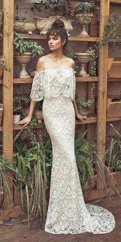 schickes brautkleid boho stil langes hochzeitskleid