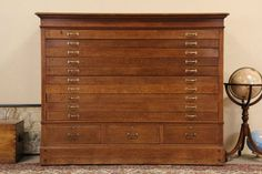 Antique oak hamilton flat file map blueprint cabinet 12 drawers oak 1900 antique 13 drawer map chest drawing or document file cabinet malvernweather Choice Image