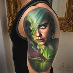 Wonderfull 3 colors realistic morphing tattoo style of Northern Lights Face motive done by artist Arlo DiCristina Tattoos Face Tattoos, Body Art Tattoos, Cool Tattoos, Punk Tattoo, Portrait Tattoos, Upper Arm Tattoos For Guys, Small Tattoos For Guys, Arlo Tattoo, Aurora Tattoo