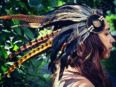 Ready To Ship  Feather Headdress with by LeatherMeFeathers on Etsy, $220.00