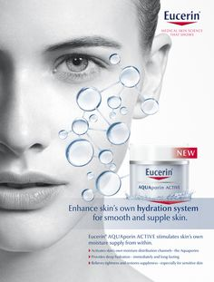 LEO KRUMBACHER · EUCERIN // Leo Krumbacher shot the Eucerin Aquaporin Active image. The advertisement is pure and elemental. In the centre of attention the simulated hydration system for skin care. Beauty Ad, Beauty Shots, Side Hand Tattoos, Creative Poster Design, Cosmetic Design, Plastic Surgery, Moisturizer, Skin Care, Cosmetics
