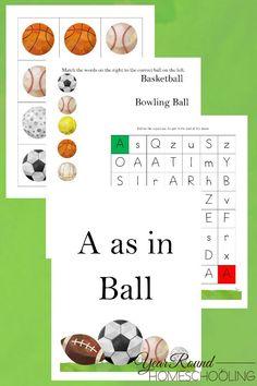 A as in Ball Activity Pack - By Year Round Homeschooling #Preschool #Prek #Kindergarten