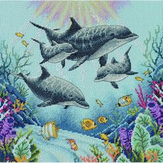Dolphin Morning - Dimensions counted cross stitch kit
