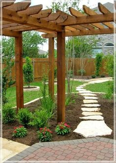 Another view of what I want in backyard. DIY Add landscaping to your backyard with corner pergola. ~ lots of inspiring landscaping ideas ~ Pictures Of Texas Xeriscape Gardens