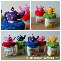 Inspiratie Crochet Jar Covers, Crochet Case, Crochet Cup Cozy, Crochet Box, Crochet Doll Pattern, Crochet Gifts, Crochet Patterns, Xmas Crafts, Diy And Crafts