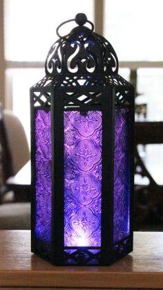 All the sh - Elegant Purple Table/hanging Hexagon Moroccan Candle Lantern Holders Purple Love, Purple Glass, All Things Purple, Shades Of Purple, Purple Stuff, Periwinkle, Magenta, Purple Table, Moroccan Lanterns