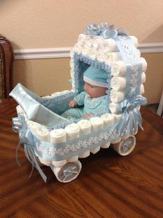 Elegant Diaper Stroller/ Blue and White Diaper Carriage/ Boy Baby Shower/ Baby Shower Centerpiece/Original Decor for Baby Shower/Unique Gift – Baby Shower İdeas 2020 Baby Shower Crafts, Baby Shower Decorations For Boys, Unique Baby Shower Gifts, Baby Shower Centerpieces, Baby Decor, Baby Shower Parties, Baby Shower Baskets, Baby Shower Diapers, Baby Boy Shower