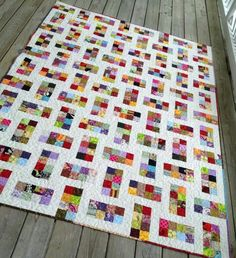 This is another way to do the lattice quilt pattern using scraps white and blue quilt if you made the sqaures with coordinated colors 40 x 48 - scrappy squares from donation and stash Ups and Downs For postage stamps Quilt Baby, Colchas Quilt, Crumb Quilt, Jelly Roll Quilt Patterns, Patchwork Quilt Patterns, Batik Quilts, Jellyroll Quilts, Scrappy Quilts, Easy Quilts
