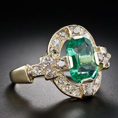 ❦ Victorian clear emerald and diamond ring, just lovely.