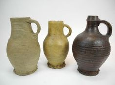 German Stoneware Wine Jugs of the 15th century.
