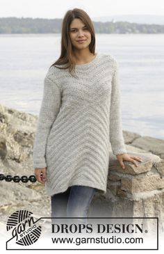 """3ed3fa67e87094 By The Lake - Knitted DROPS jumper with textured pattern in 1 strand  """"Cloud"""" or 2 strands """"Brushed Alpaca Silk"""". - Free pattern by DROPS Design"""