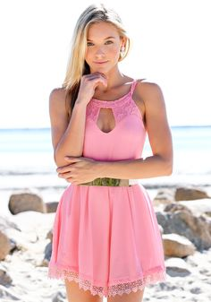 Lace Keyhole Romper - Pink - Dress