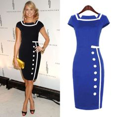 New-Ladys-Sexy-Celebrity-Vintage-Nautical-Bodycon-Pencil-Party-Dress-A06