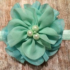 Bright & Light   Two-tone, Double Flower  Aqua & Teal Hair Clip or Headband.   Soft, Lacey Flowers with Center Details   $8