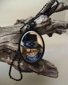 Blue collar cat steampunk style glass cab by ArtiFartiGifts