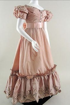 Pink Silk Embroidered Evening Gown English, ca. 1830