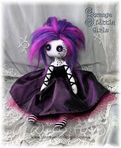 A custom Gothic art doll with tattoos and button eyes.  #ButtonEyedDoll #GothicDoll