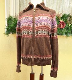 Tiara Fair Isle Yoke Cardigan Sweater XL Fall Classic Fun Cute Casual Jeans Fun #TiaraInternational #FullZipCardigan
