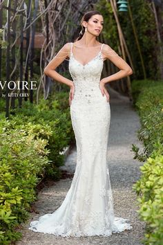 A corded-lace floor length kitty chen couture Marissa V1601 price wedding dress