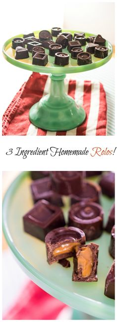3 Ingredient Homemade Rolos! Would be soooo delicious and are EASY to make…