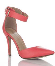Women's Faux Leather Pointy Toe Ankle Strap Kitten Heel Pumps GRAPEFRUIT PU #Breckelle #PumpsClassics
