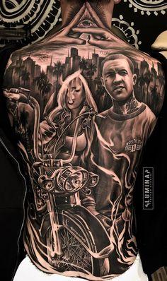 Amazing Tattoo Designs & Ideas That You'll Love! Gangster Tattoos, Biker Tattoos, Tattoos Skull, Body Art Tattoos, Girl Tattoos, Chicanas Tattoo, Zeus Tattoo, Cloud Tattoo, Epic Tattoo