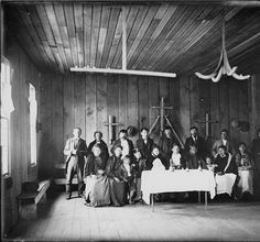 Clallam group portrait inside the Shaker church, Jamestown, Washington, ca.1903 :: American Indians of the Pacific Northwest -- Image Portio...