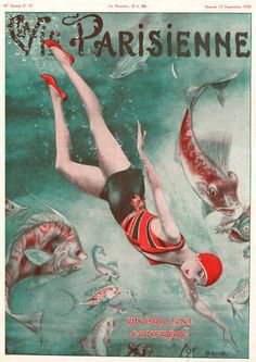 La Vie Parisienne Cover Lady Swims Ocean Fish Art Deco |