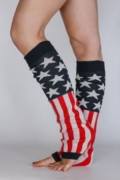 Women's American Flag Leg Warmers or Boot Toppers with Sweater Knit and Blocked Stars and Stripes Print in Red, White and Blue