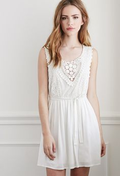Crochet and Lace Babydoll Dress | Forever 21 - 2000114908