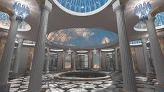 Sky Hall  3d art, 3d graphics, 3d student, 3dsmax, bright, light, dome, domes, glass, greek, cgi