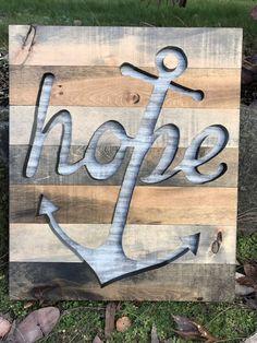 Rustic Nautical Wood Hope Anchor Silhouette Wall Art
