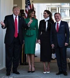 President Donald Trump and his wife Melania welcomed King Abdullah II Hussein of Jordan and his wife Queen Rania at the West Wing of White House on Wednesday.