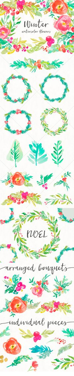 watercolor winter flowers clip art set green reds gold glitter winter flowers Hand-painted Wreaths trees bouquets Clip Art Feminine / Girly Graphics / PNG / Stock Images for  Wedding Invitations or Party Invites
