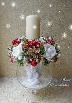 We decorate the candle for Christmas Eve: 50 photo . Decorate a candle for Christmas Eve: 50 photo ideas Decor ideas Handmade Christmas Crafts, Christmas Arrangements, Handmade Christmas Decorations, Christmas Centerpieces, Xmas Crafts, Xmas Decorations, Christmas Projects, Christmas Diy, Christmas Wreaths