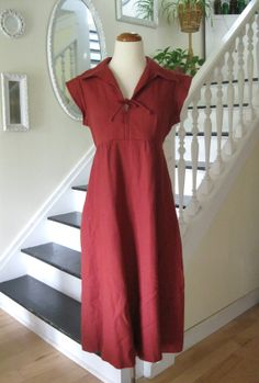 Vintage 70s rust wool dress with cap sleeves by TheBlueSkyBoutique, $38.00
