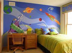 Für die Wandgestaltung eignet sich das Weltraum-Thema