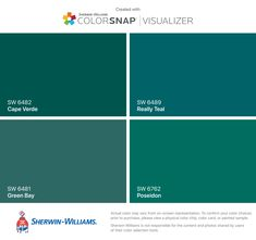 I found these colors with ColorSnap® Visualizer for iPhone by Sherwin-Williams: Cape Verde (SW Green Bay (SW Really Teal (SW Poseidon (SW Teal Paint Colors, Bathroom Paint Colors, Paint Colors For Home, House Colors, Peacock Blue Paint, Teal Front Doors, Front Door Colors, Annie Sloan, Blue Green Paints