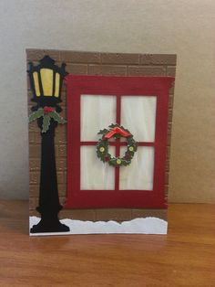 Christmas Lamppost and Window outside a brick by BarbsCardBoutique, $3.50