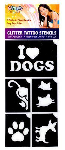 I Love Pets Glitter Tattoo Stencil Set Party Accessory by Glimmer Body Art, LLC. $4.14. Includes stencils shown...no glue or glitter.. Easy peel design.. Pre-cut.. Includes (5) glitter tattoo stencils.